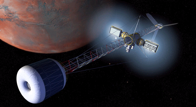 Mars artificial-gravity nuclear-electric propulsion vehicle
