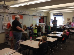 Peter and Bill teaching 2nd graders about inverse kinematics...