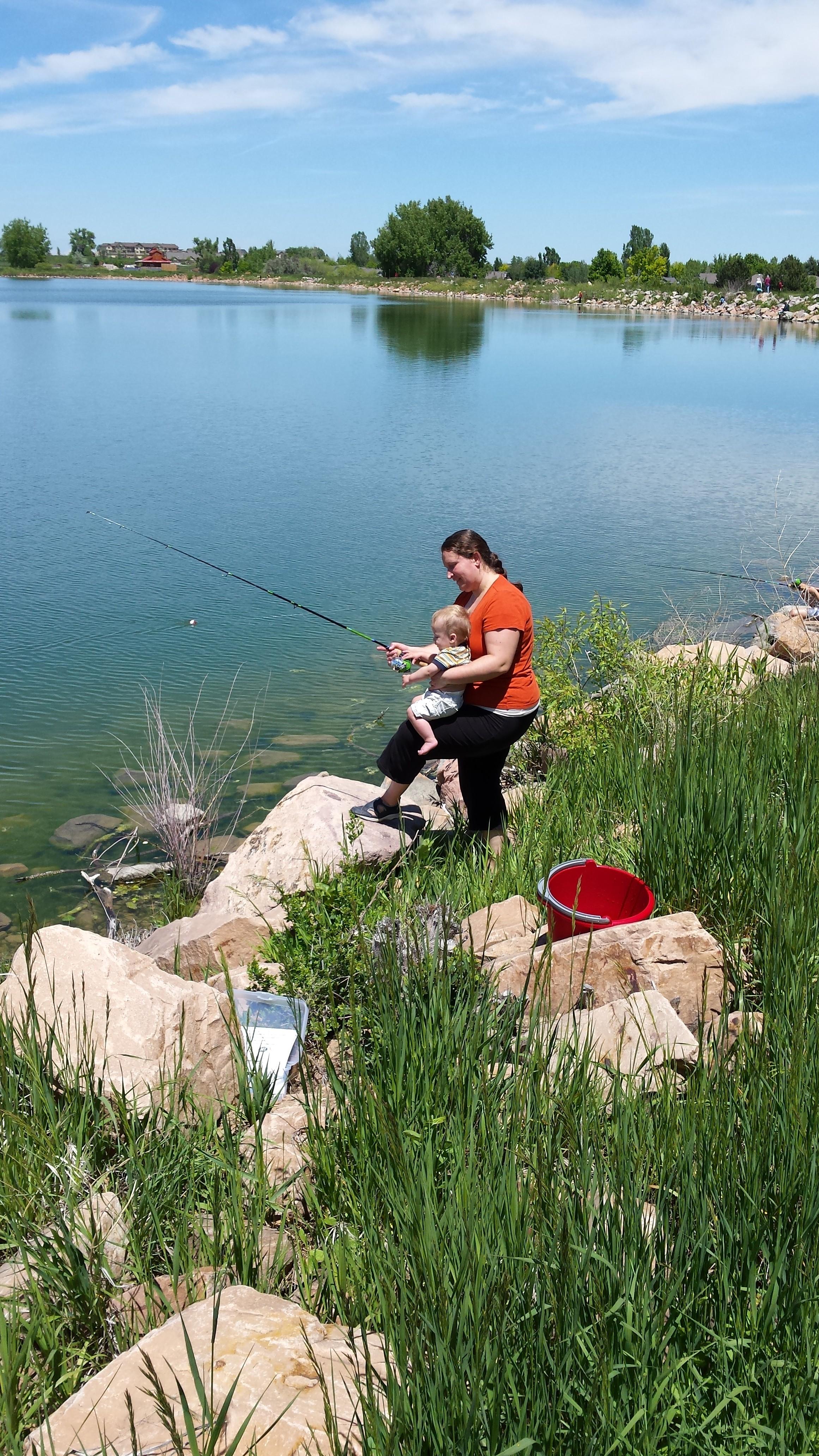 Mom and Pip Fishing at Waneka Lake